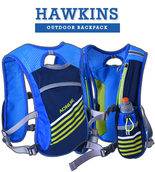 Hawkins Outdoor Travel Shoulder Running / Cycling Wearable Vest Backpack FREE x 2 300ml Water Bottle