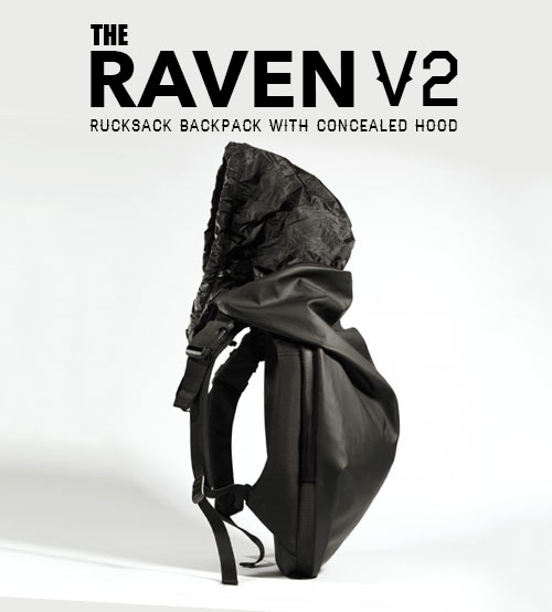 The Raven V2 Travel and Leisure Futuristic Rucksack Backpack With Concealed Hood