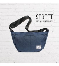 Street Casual Messenger Sling Pouch Bag (Navy)