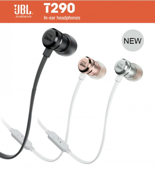 jbl t290 pure bass sound lightweight in ear wired stereo headphones. Black Bedroom Furniture Sets. Home Design Ideas