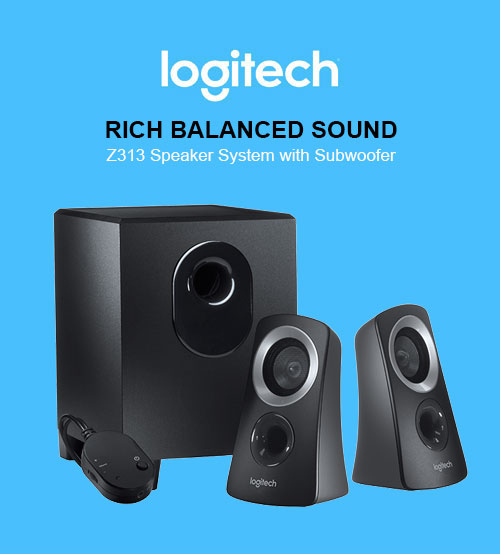 Logitech Z313 Rich Balanced Sound Speaker System with Subwoofer 25W