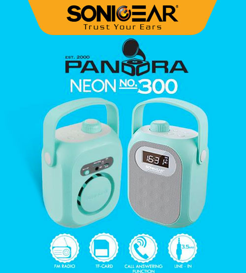 Sonic Gear Pandora Neon 300 Portable Bluetooth Wireless Stereo Speaker With Wired AUX, USB, Micro SD, Call Answering Function, Rechargeable & FM radio