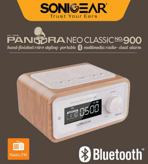 SonicGear Pandora Neo Classic 900 Portable Stereo Speaker System with LED Digital Display, Calendar & Clock Function