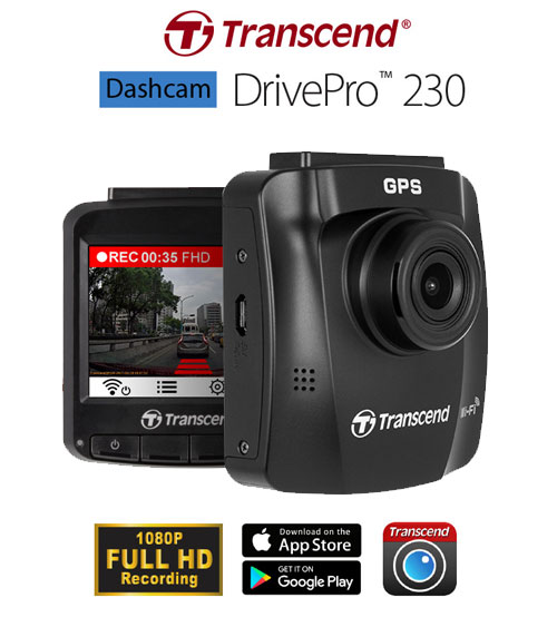 transcend drivepro 230 dashcam hd car video recorder wifi. Black Bedroom Furniture Sets. Home Design Ideas