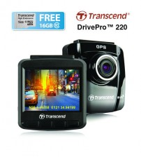 Transcend DrivePro 220 Dashcams Car Video Recorder Wifi GPS - TS16GDP220M (FREE 16GB Micro SD + Suction Mount)