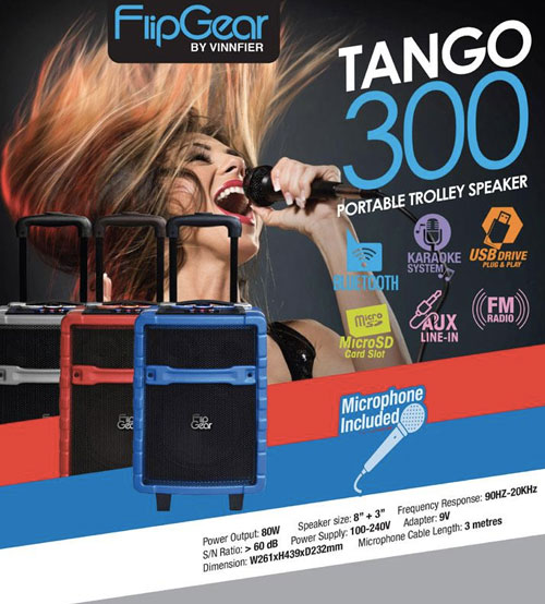 Vinnfier FlipGear Tango 300 Portable Trolley Speaker Karaoke KTV With Microphone