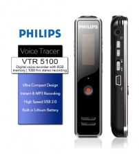 Philips VTR5100 Voice Tracer Digital Recorder In MP3 Format With 8GB Internal Memory
