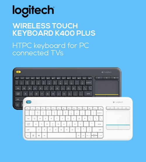 Logitech K400 Plus Wireless Touch Pad HTPC Keyboard for PC Connected TVs
