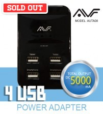 AVF ® 4 Port USB Power Adapter 5000Ma Output DC5000mA