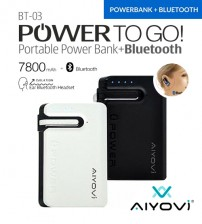 Aiyovi BT-03 7800mAh Earset Portable Power Bank with Bluetooth Earpiece