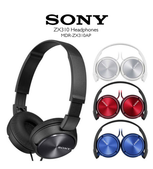 Sony MDR-ZX310AP Lightweight Headphones - Powerful & Balanced Stereo Sound With Folding Design
