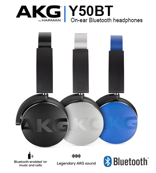 AKG Y50BT On-Ear Bluetooth Wireless Legendary AKG Sound Headphones