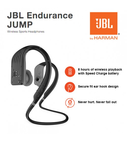 JBL Endurance Jump Waterproof Wireless Bluetooth Sweatproof Sport In-Ear Headphones