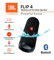 JBL Flip 4 Rechargeable Waterproof Portable Wireless Bluetooth Speaker With Powerful Sound