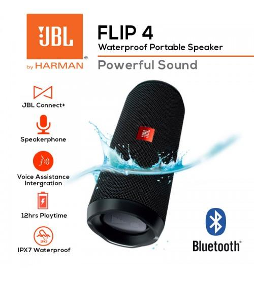 JBL Flip 4 Rechargeable Waterproof Portable Wireless Bluetooth Speaker With Powerful Sound