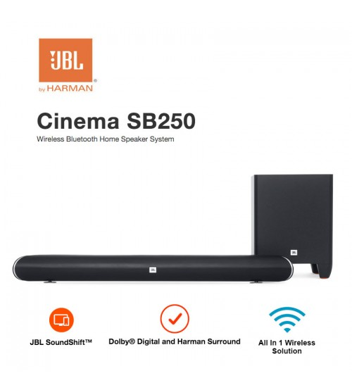 JBL By Harman Cinema SB250 Wireless Bluetooth Home Speaker System