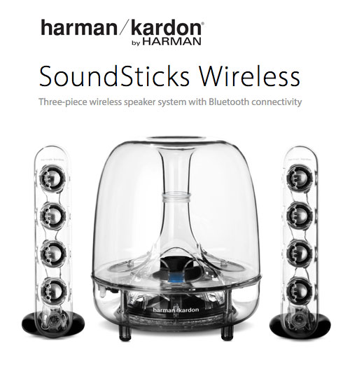 Harman Kardon SoundSticks Three-Piece Wireless Speaker System With Bluetooth Connectivity