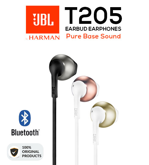 JBL T205 Earbud Pure Base Sound Wired Headphones