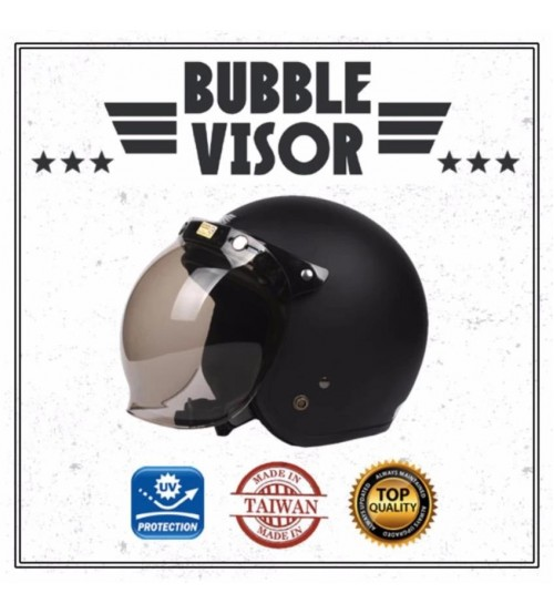 Cafe Racer Vintage Bubble Motorcycle Helmet Visor Shield Screen With Flip Anti UV (Smoke)
