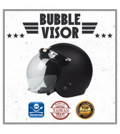 Cafe Racer Vintage Bubble Motorcycle Helmet Visor Shield Screen With Flip Anti UV (Clear / Transparent)