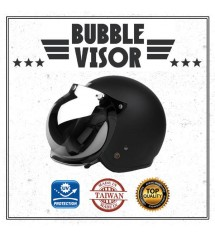Cafe Racer Vintage Bubble Motorcycle Helmet Visor Shield Screen With Flip Anti UV (Chrome)
