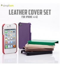+Simplism Leather Cover Set with Protector Film for iPhone 4 / 4S