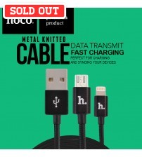 HOCO Metal Knitted Lightning and Micro USB Charging Cable Data Transfer Cable