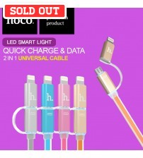 HOCO Dual LED Smart Light Lightning and Micro USB Cable UPL08