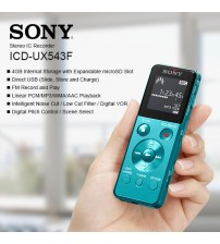 Sony ICD-UX543F Digital Voice Recorder 4GB Internal Storage with Expandable microSD Slot