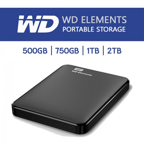 WESTERN DIGITAL ELEMENTS 750GB / 1TB / 2TB PORTABLE HARD DRIVE USB3.0