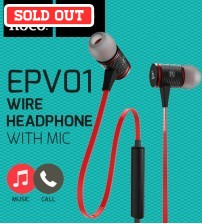 HOCO EPV01 Universal Deep Base In-Ear Wire Control Headphone With Mic / Play Music / Take Calls For Android & IOS