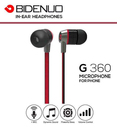 BIDENUO G360 3.5mm Stereo In-Ear Headphones With Microphone & Volume Control For Iphone
