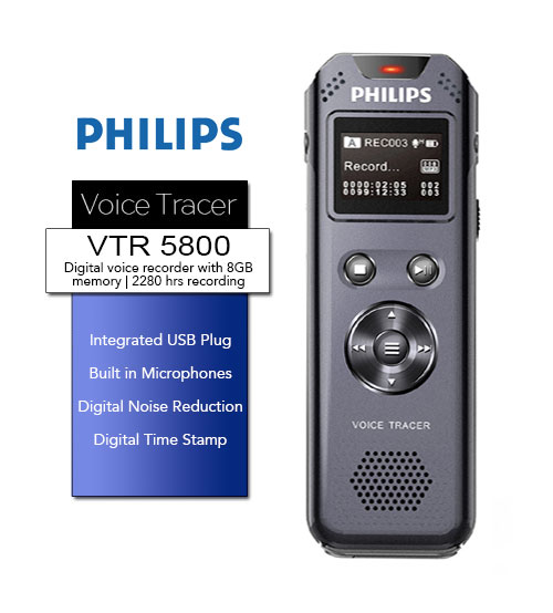 PHILIPS VTR5800 Dual Mic Digital Voice Recorder 8GB With FM Radio/FM Recording