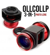 OLLCOLLP 3-in-1 Fish Eye+Macro+Wide Angle Clip On Photo Lens for iPhone 4/4s/5/5s
