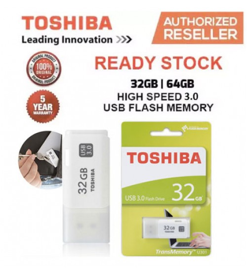 Toshiba 16GB / 32GB / 64GB USB 3.0 TransMemory Hayabusa U301 Stylish & Compact USB Flash Drive