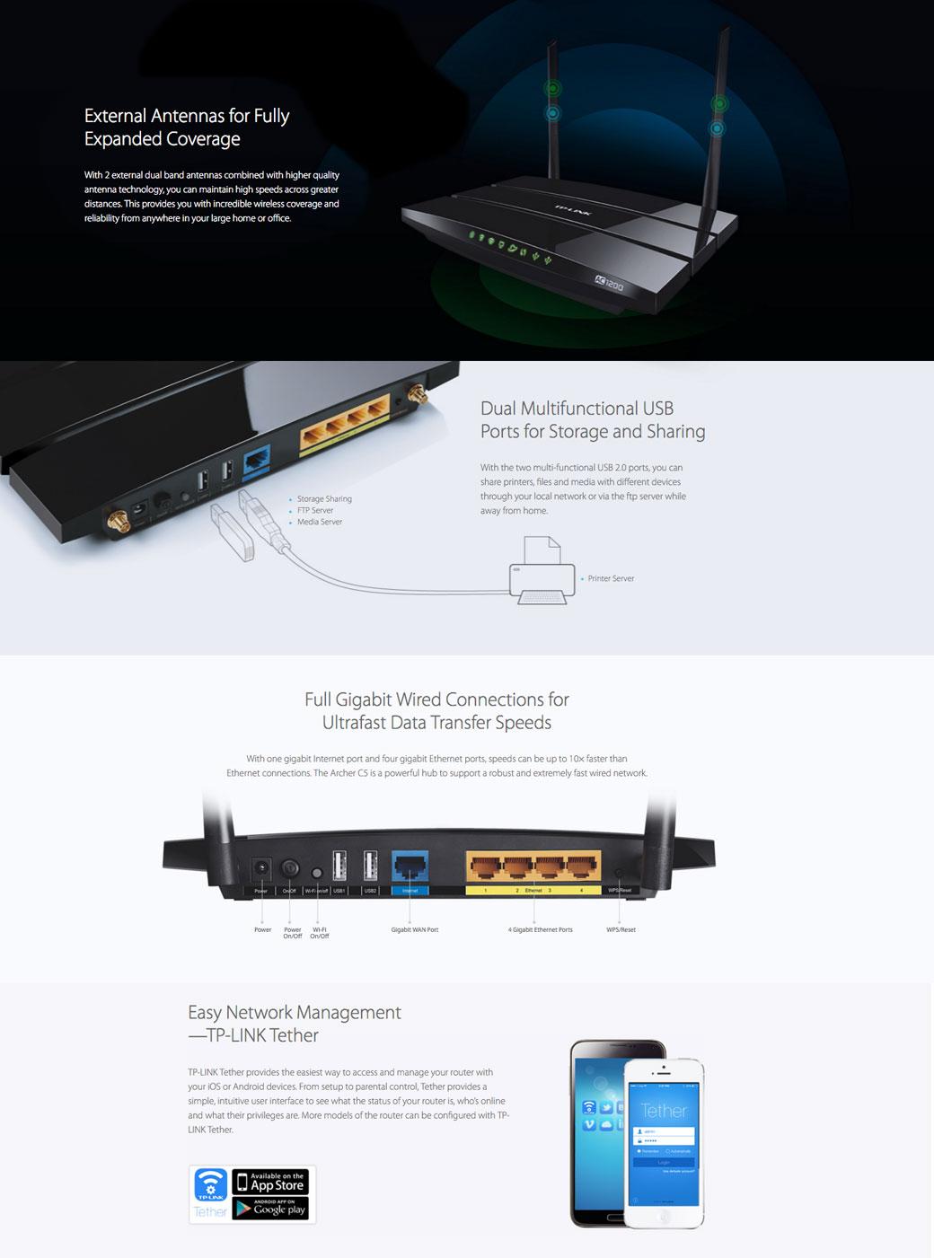 TP-LINK AC1200 Wireless Dual Band Gigabit Router Archer C5
