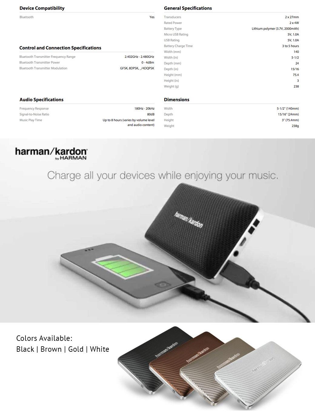 harman kardon esquire mini 2 wireless portable speaker. Black Bedroom Furniture Sets. Home Design Ideas