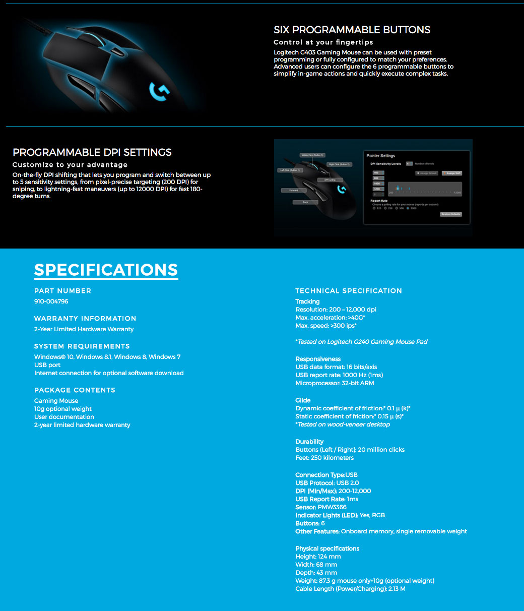 G403 - Wired Programmable Gaming Mouse