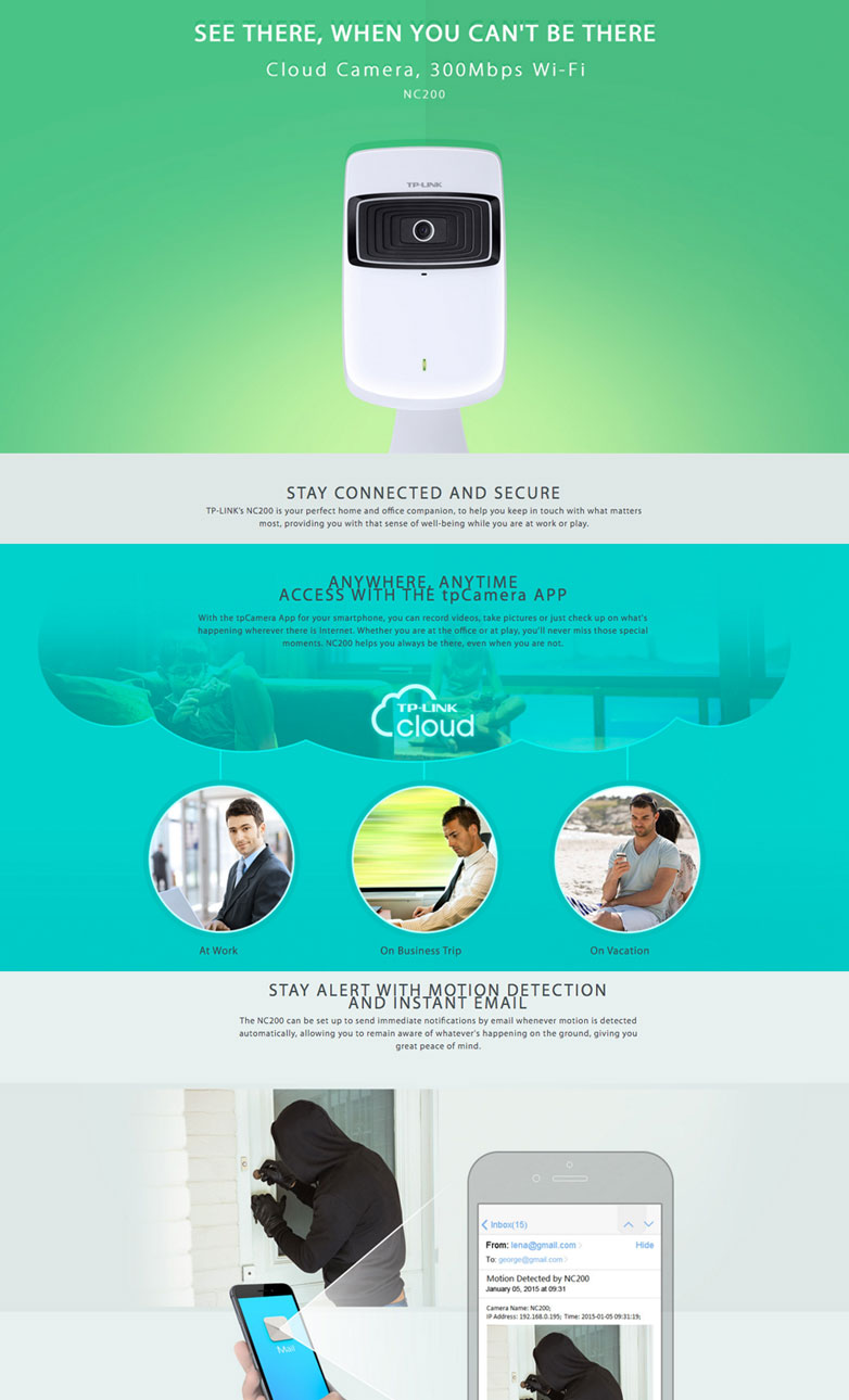 TP-LINK NC200 Cloud Wireless Camera, 300Mbps Support Wi-Fi N