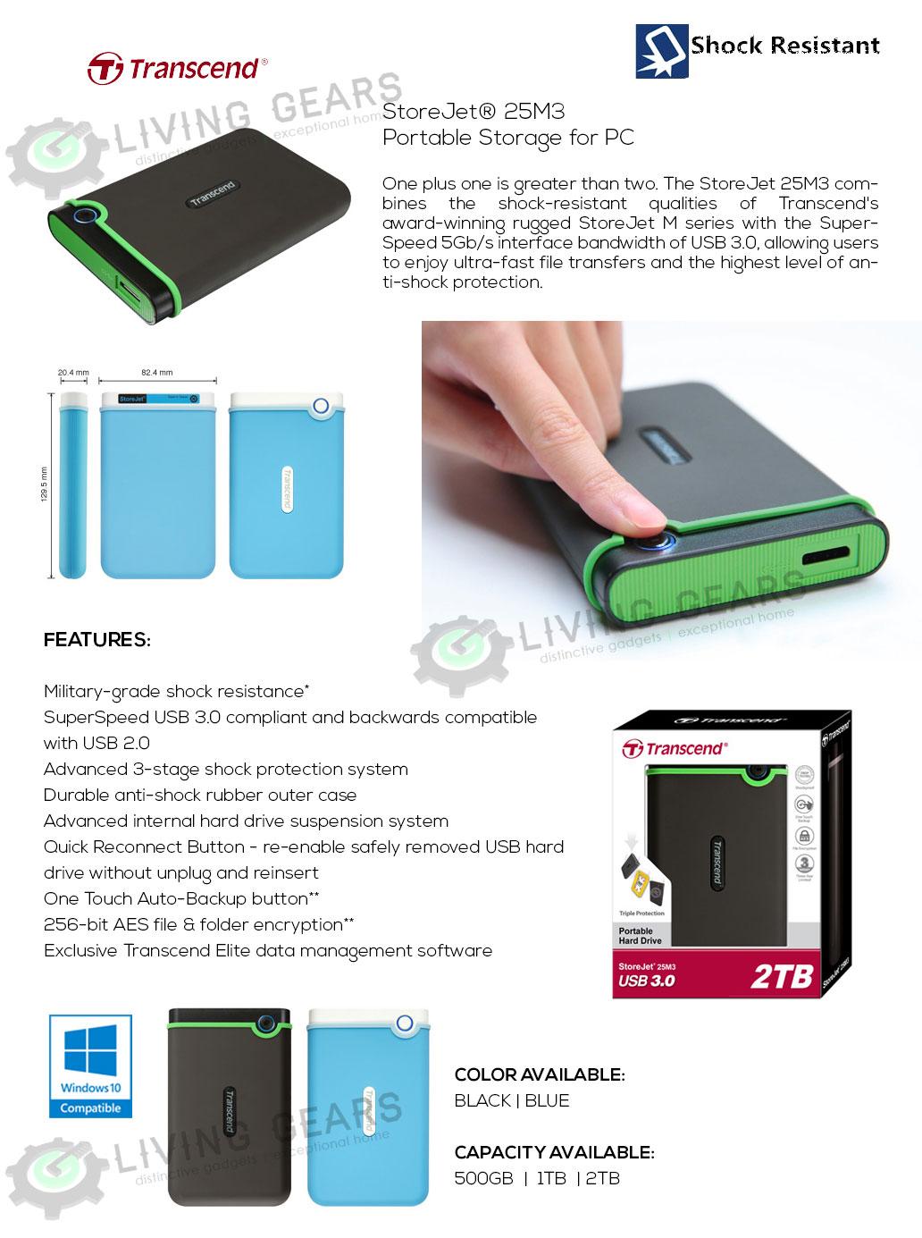 Transcend Storejet Anti Shock 25m3 Usb 30 Rugged Portable External Hardisk Eksternal 2 Tb Hard Disk Drive 500gb 1tb 2tb
