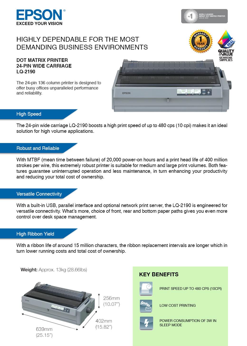 EPSON LQ 2190 24 Pin USB Parallel Dot Matrix Printer A3