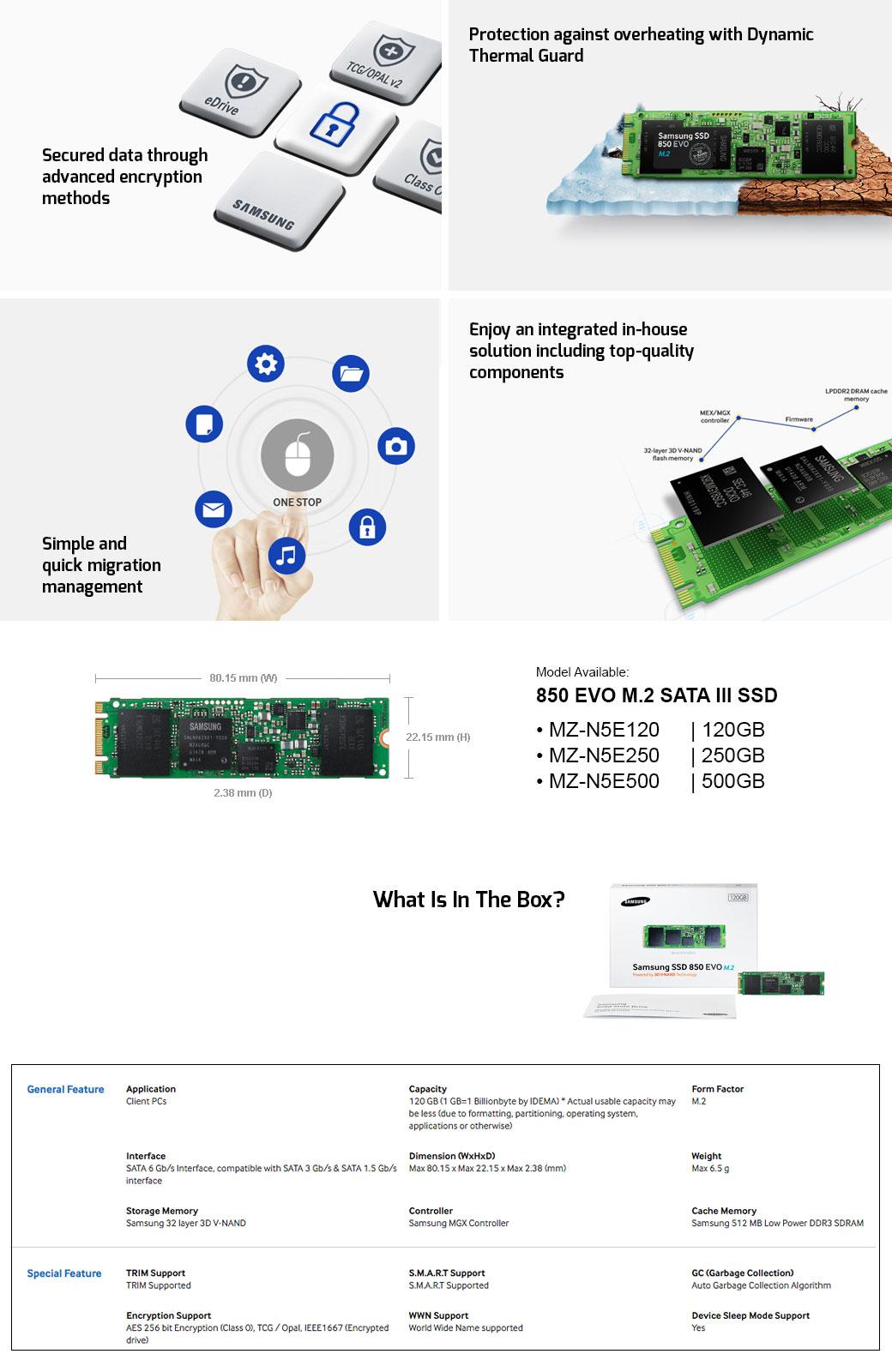 Samsung Ssd 850 Evo M2 Sata Iii 3 D Vertical Internal For Ultra 250gb Description Reviews 0