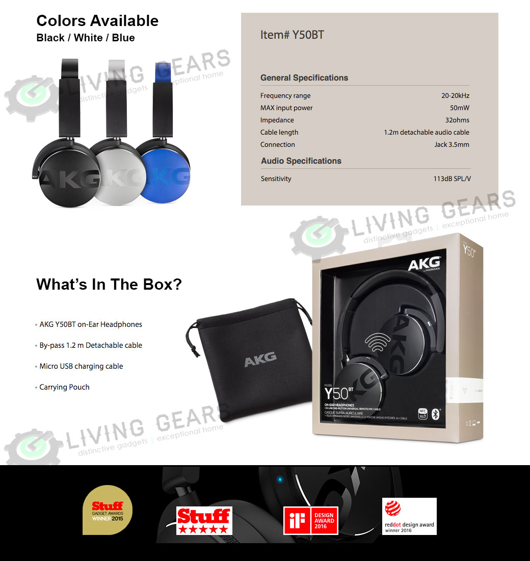 Akg Y50bt On Ear Bluetooth Wireless Legendary Sound Headphones Headphone Acoustics
