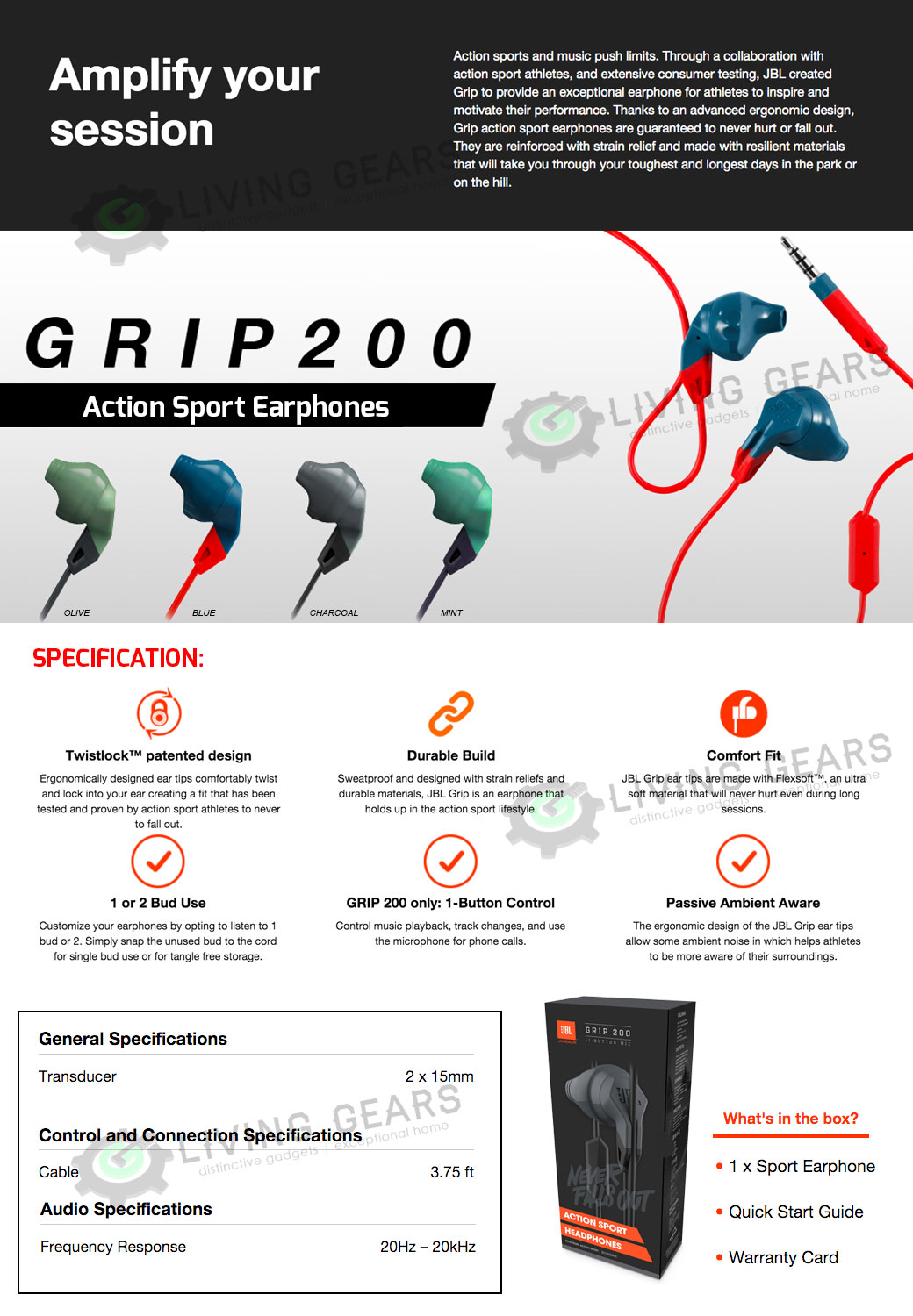 jbl grip 200. jbl grip 200 action sport earphones | ces 2016 jbl