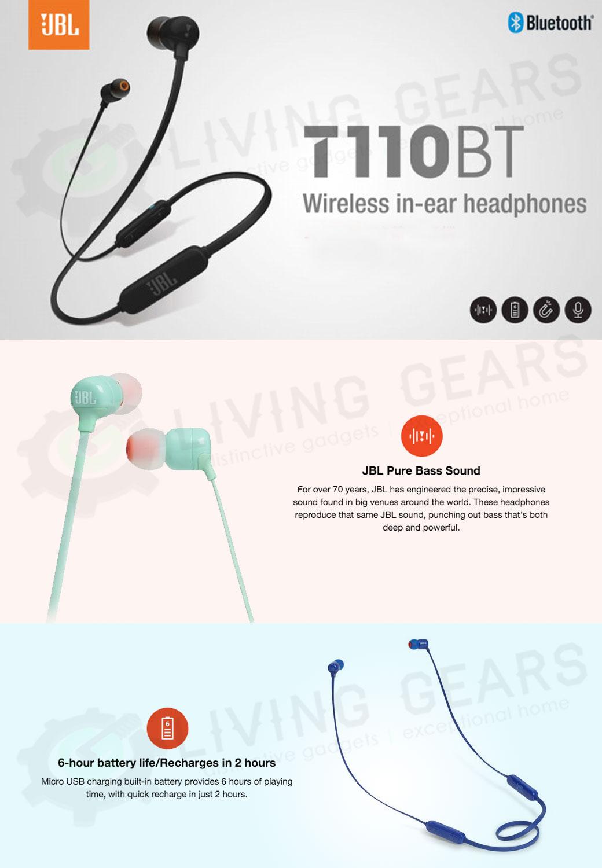 JBL T110BT Pure Sound Wireless Bluetooth In-Ear Headphones