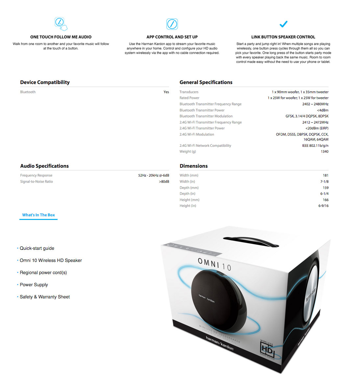 Harman Kardon Omni 10 Wireless Bluetooth Portable HD Audio