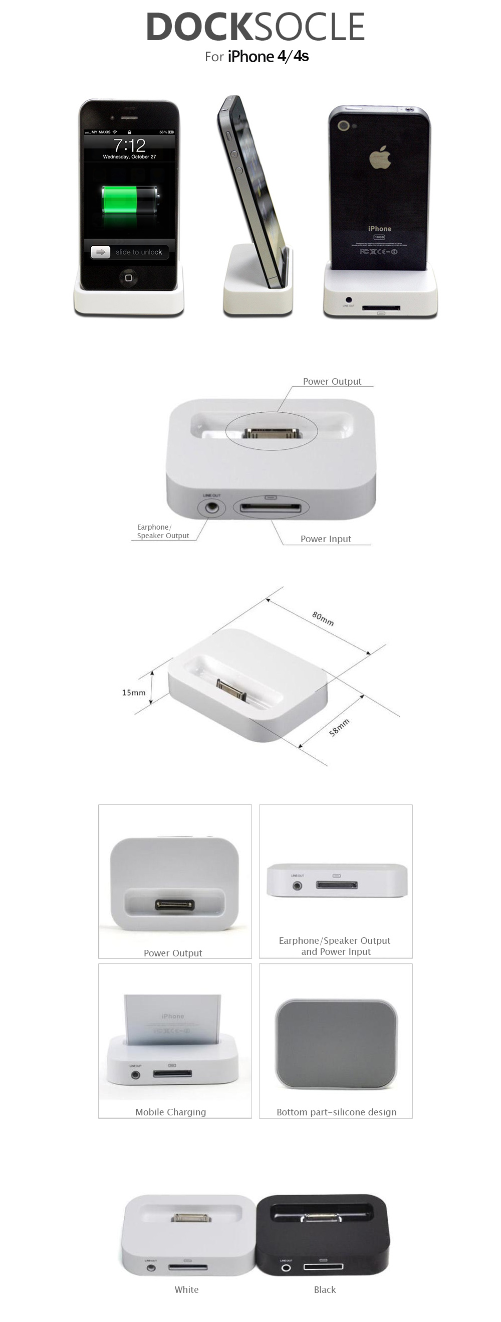 dock socle stand charger with speaker earphone output for iphone 4 4s 11street malaysia. Black Bedroom Furniture Sets. Home Design Ideas