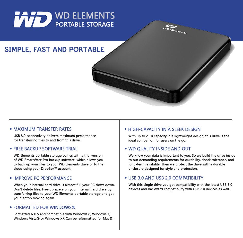 WESTERN DIGITAL ELEMENTS 750GB / 1TB / 2TB PORTABLE HARD ...