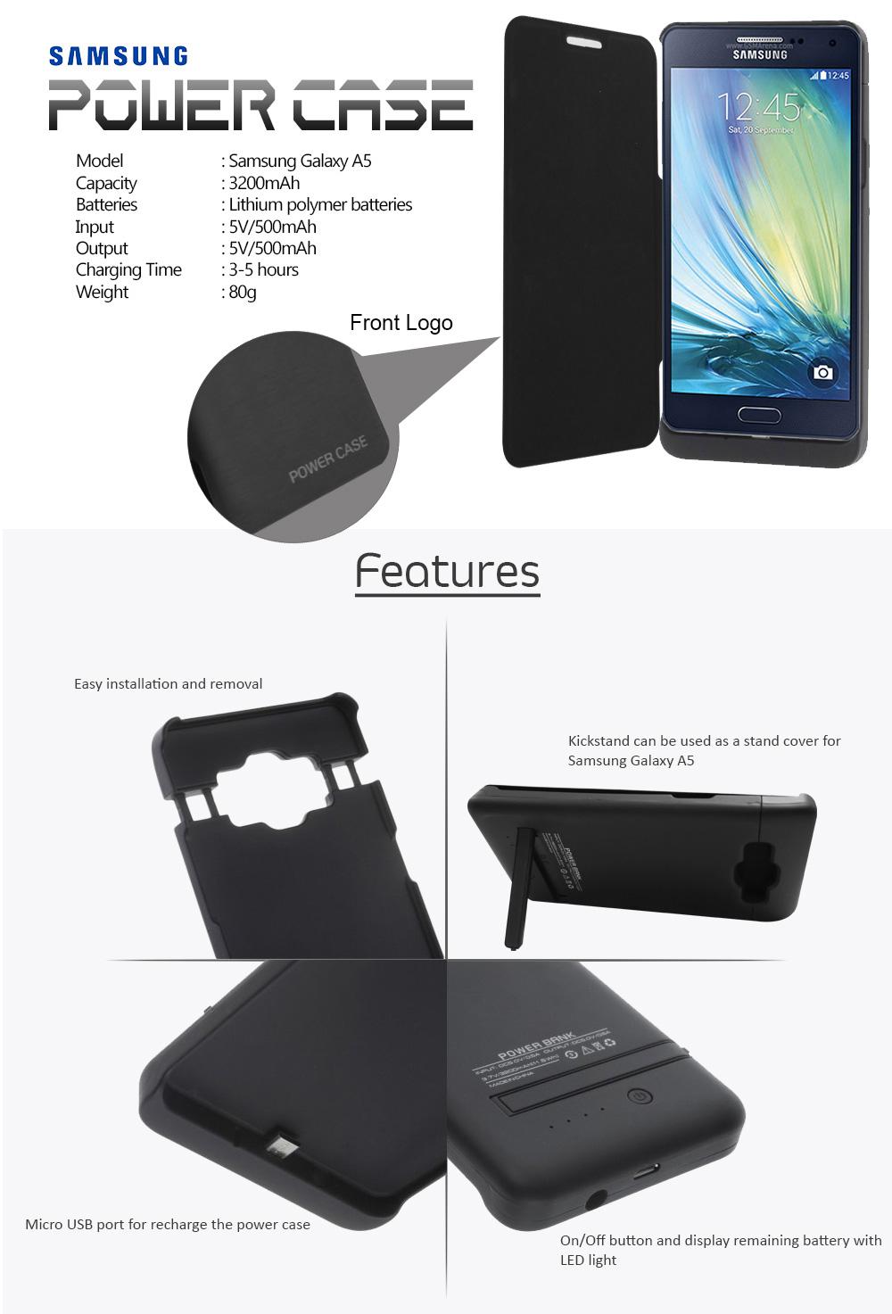 huge discount 697c0 2697f Power Case 3200mAh External Battery Case For Samsung Galaxy A5