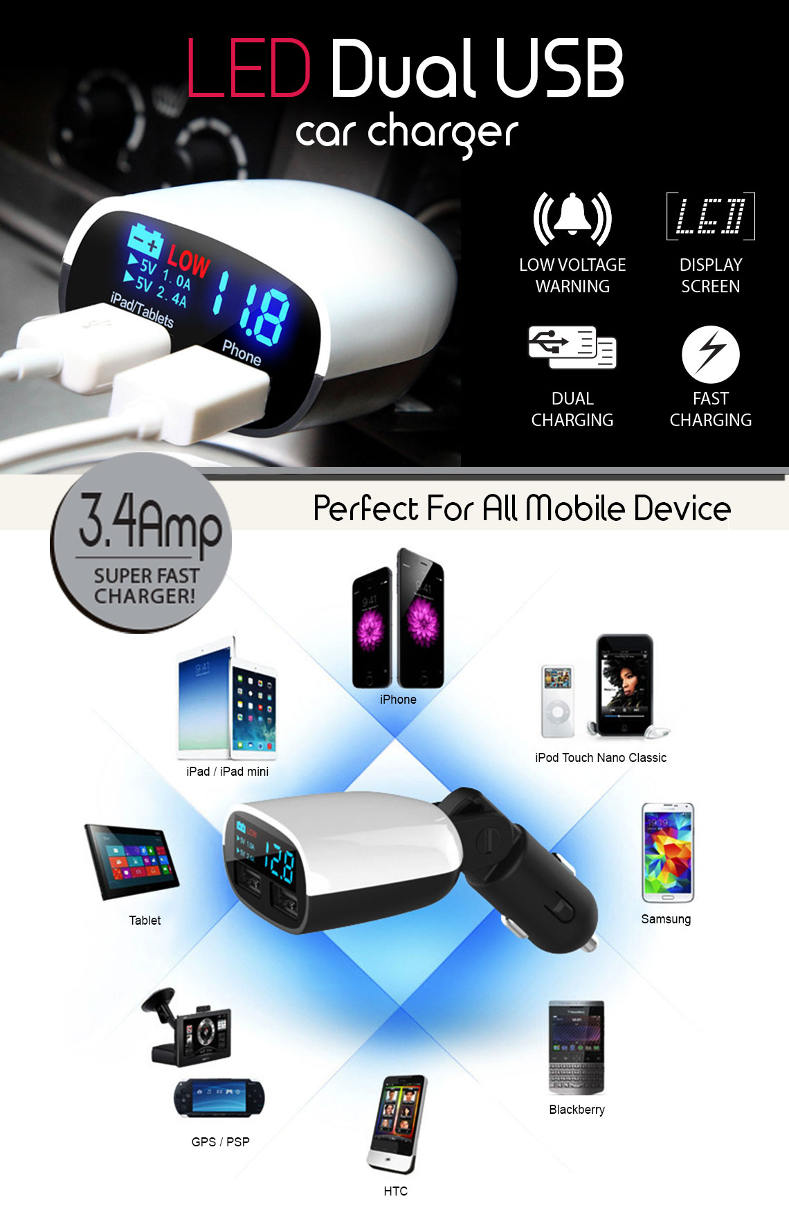 Universal Super Fast Charging 34a Led Dual Usb Car Charger Psp There Are No Reviews For This Product
